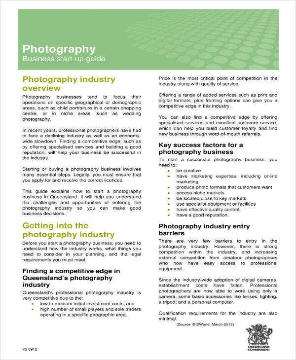 Photography Business Start Up Plan