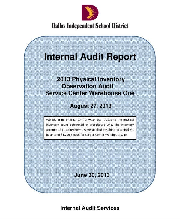 physical stock audit report sample