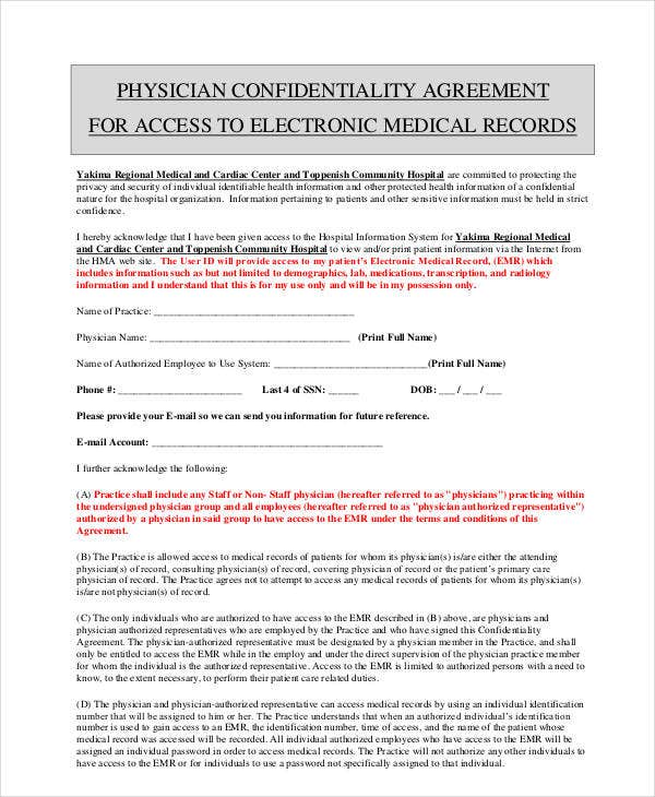 physician confidentiality agreemen