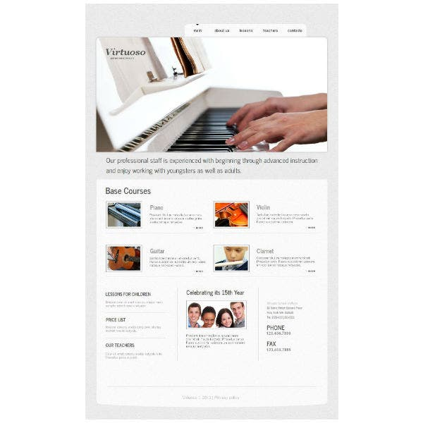 Piano Music School Moto CMS HTML Template