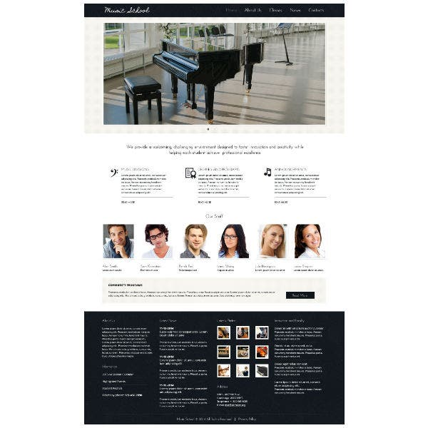 Piano Music School Responsive Website Template