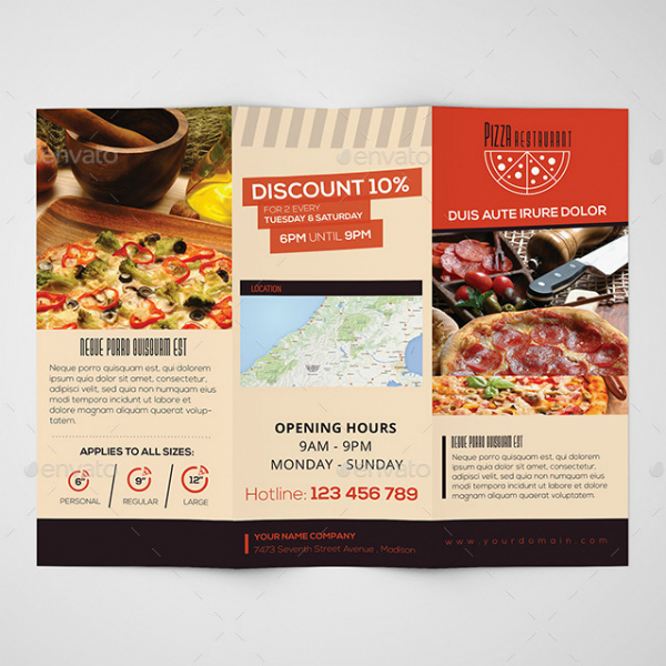 Pizza Restaurant Trifold Brochure Template
