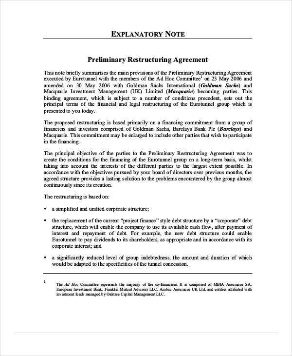 preliminary restructuring agreement