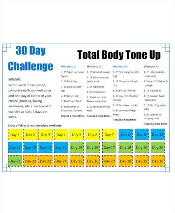 printable 30 day workout plan