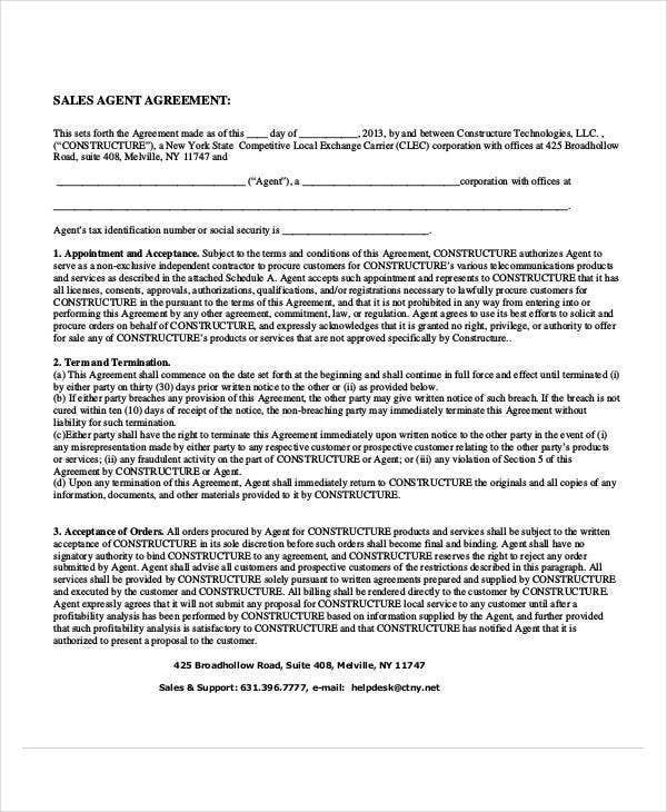 printable agent commission agreement