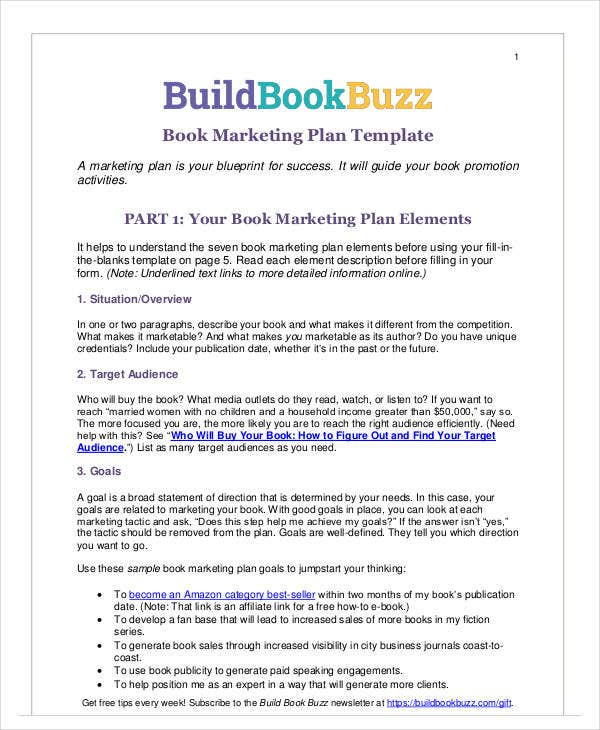 printable book marketing plan