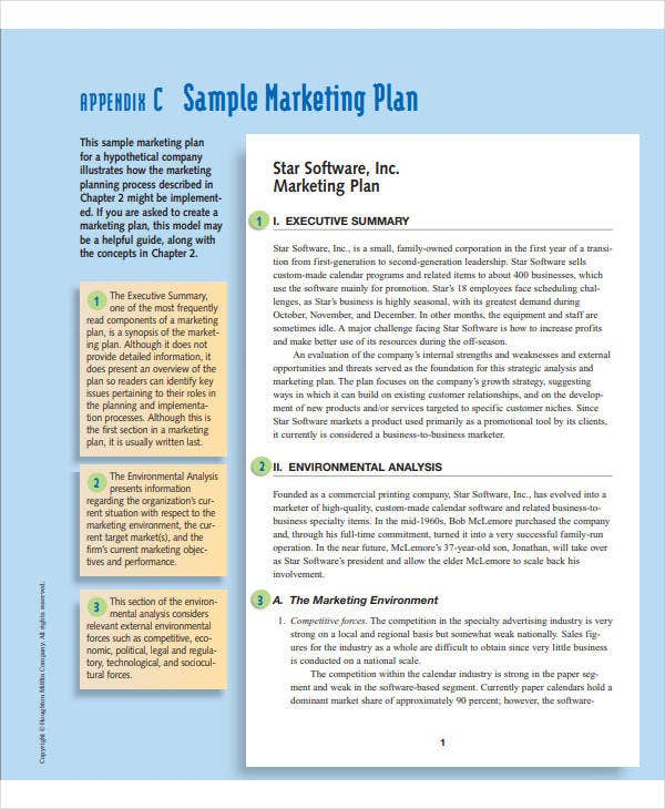 printable business marketing plan