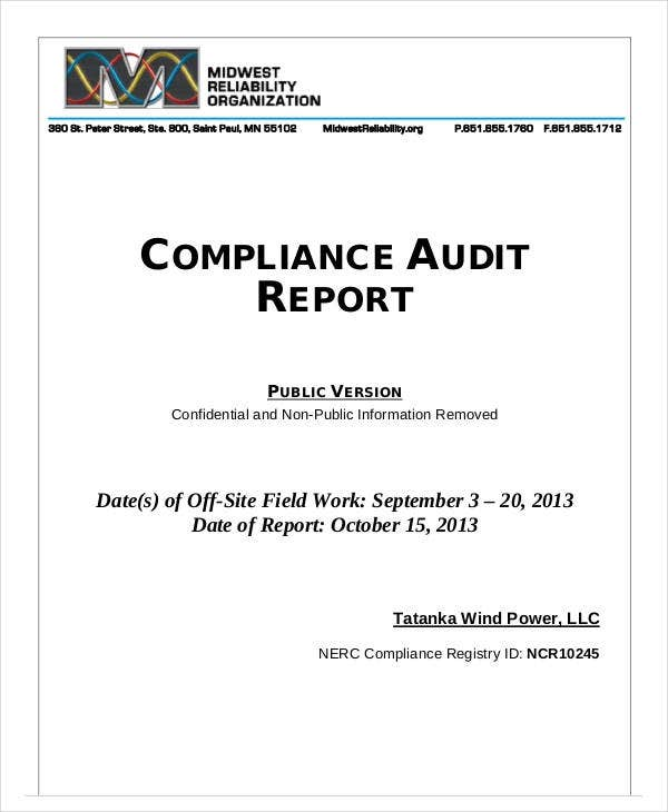 printable compliance audit report