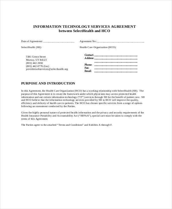 printable it service agreement