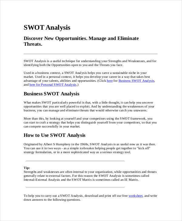 printable marketing swot analysis