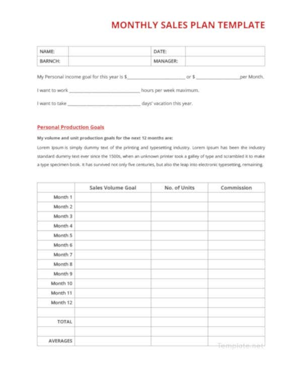 printable monthly sales plan
