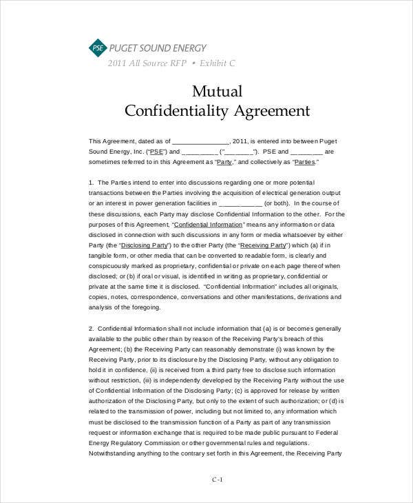 printable mutual confidentiality agreement