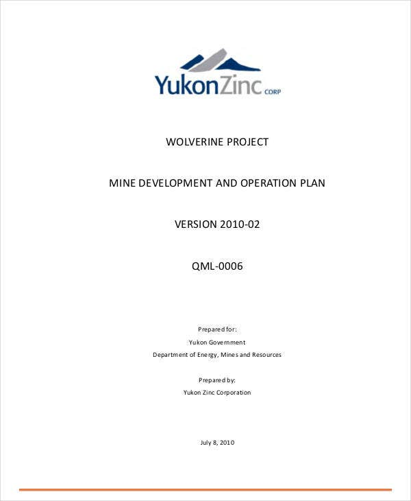 printable project operational plan
