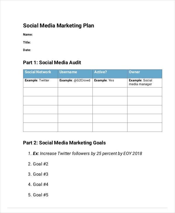 printable social media marketing plan