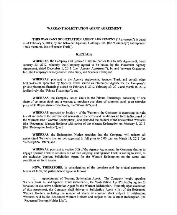 printable warrant agreement