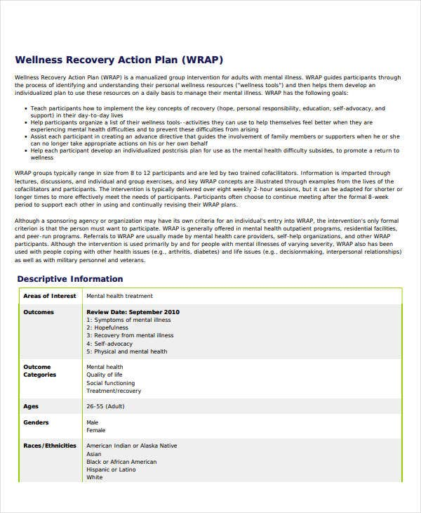 printable wellness recovery action plan