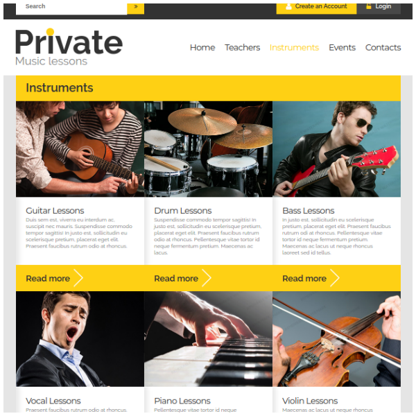 Private Music Education Website Template