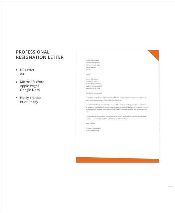profesional resignation letter template