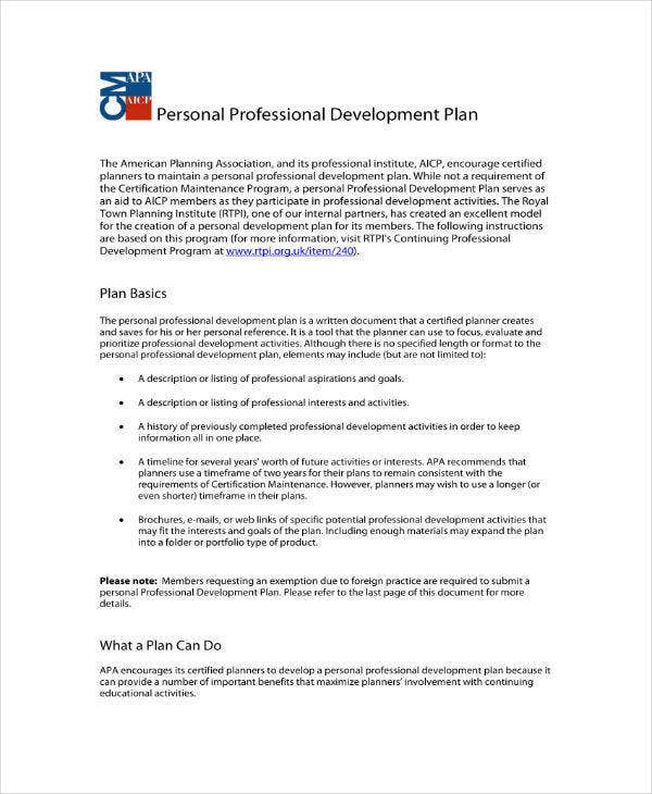 Professional Staff Development Plan Template