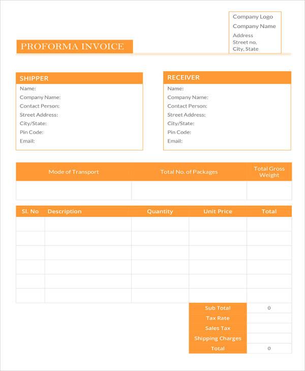 Pro Forma Invoice Examples: 12+ Proforma Invoice Templates - PDF, DOC, Excel