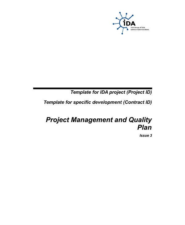 project management and quality plan template