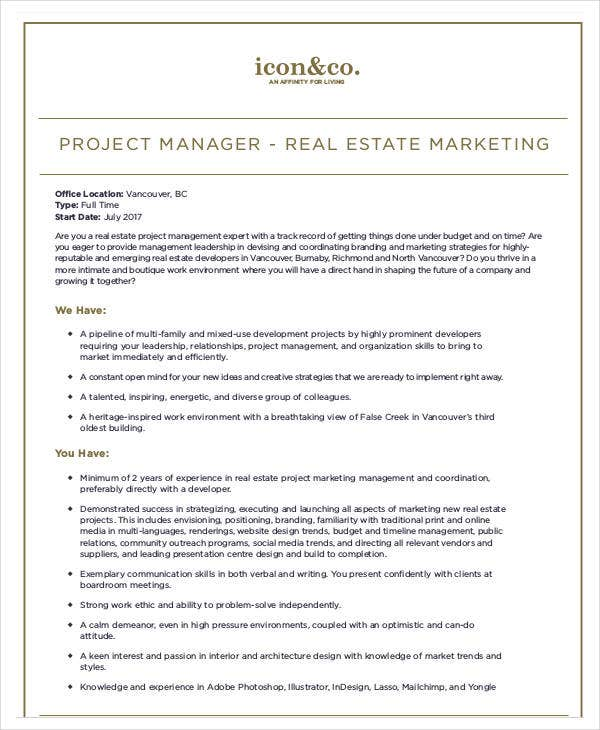 project manager real estate marketing plan