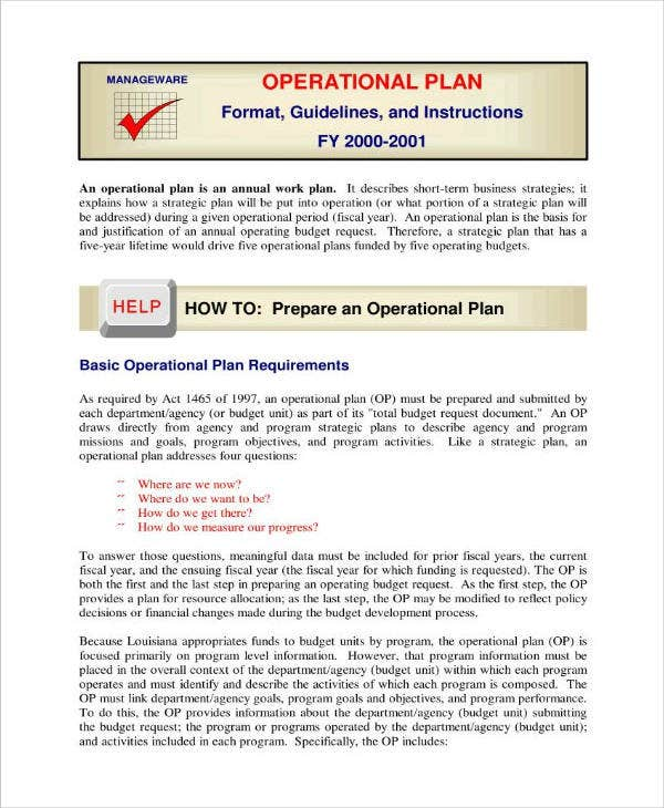 Project Operation Plan Sample