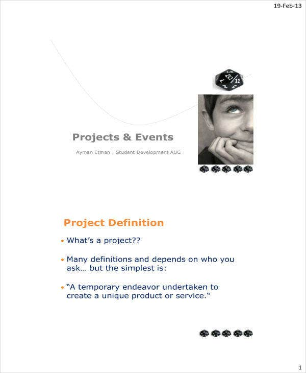 project and events management sample