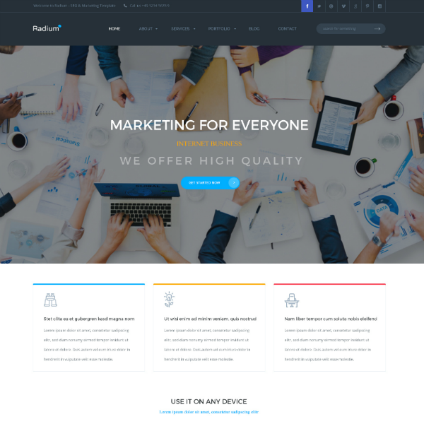Radium SEO Agency Website Template