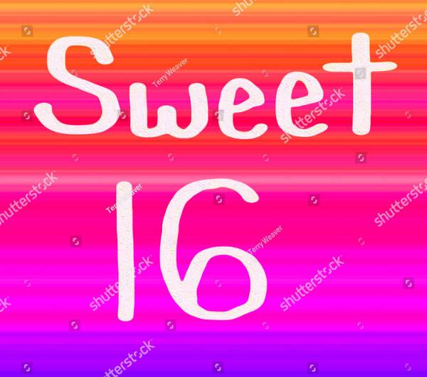 Rainbow Sweet Sixteen Banner Template