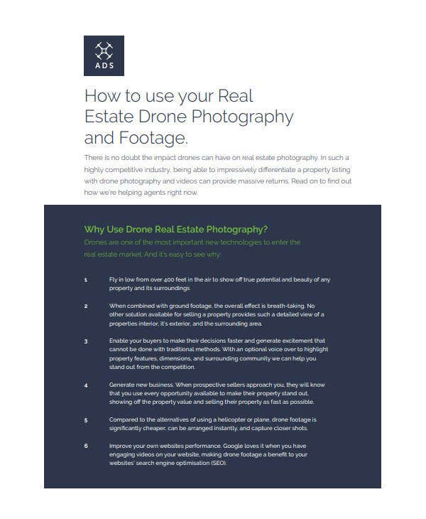 real estate drone photography and footage plan
