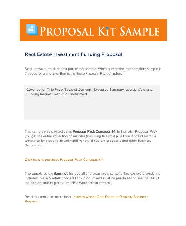 real estate investment funding proposal