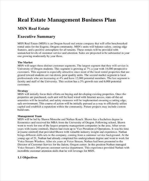 Business plan to buy a property