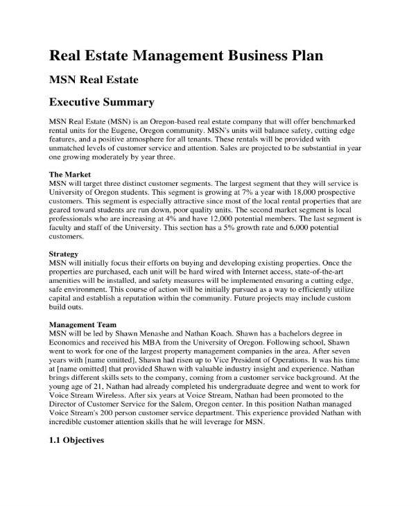 real estate management and businessplan 01