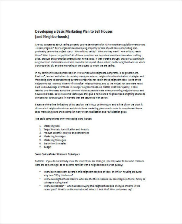 real estate marketing and sales business plan