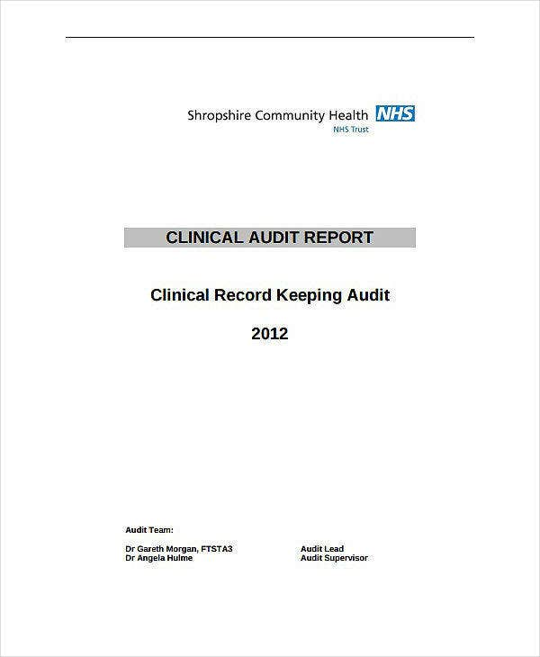 record keeping clinical audit report template
