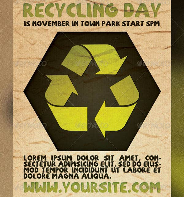 recycling day flyer template