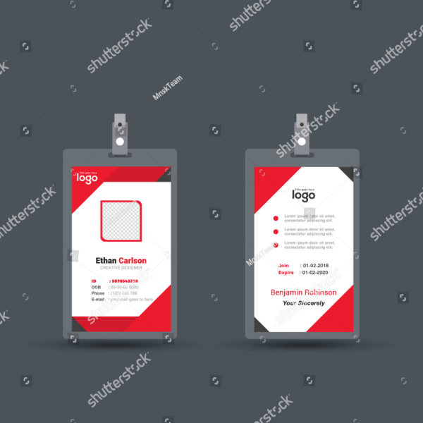 red geometric vertical id card template