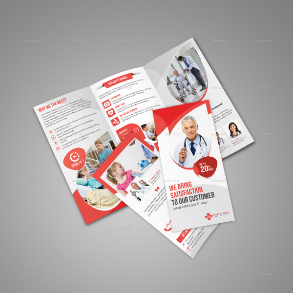 Red Theme Medical Tri-Fold Brochure Template
