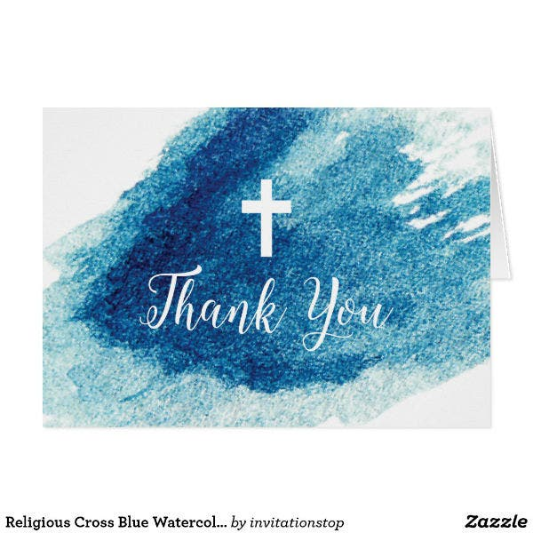 religious watercolor thank you card template