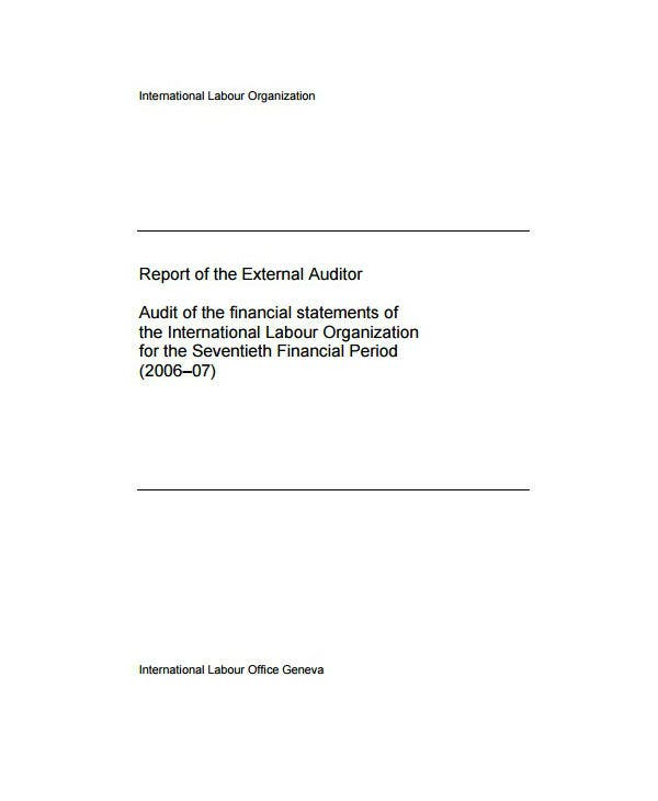 report of the external auditor template