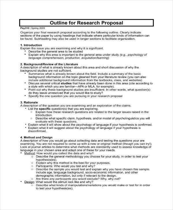 11  research proposal outline templates