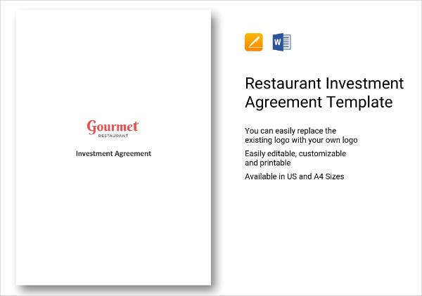 restaurant investment agreement sample