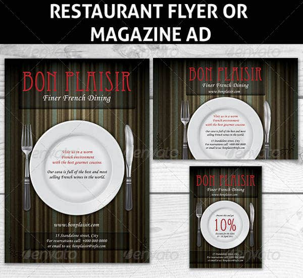 Restaurant Magazine Ads or Flyer Template