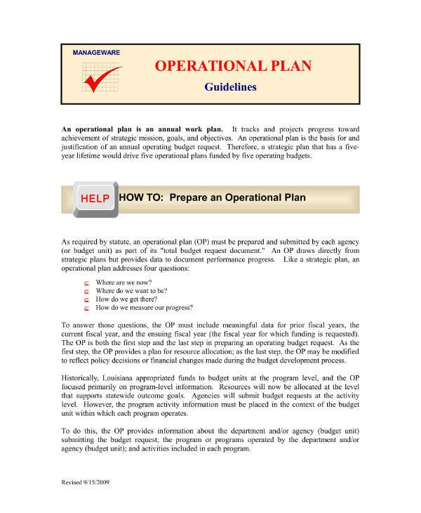 restaurant operational plan guidelines