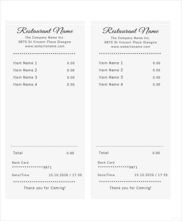 11 restaurant receipt templates doc pdf free premium templates