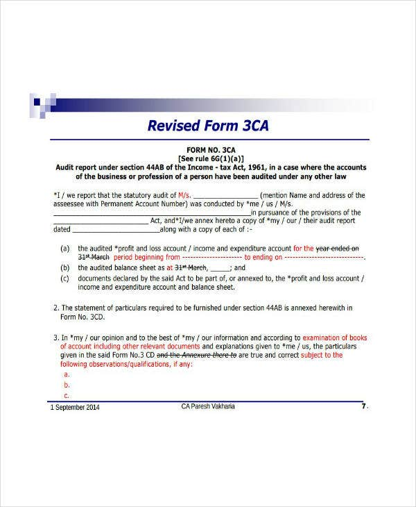 revised income tax audit report template