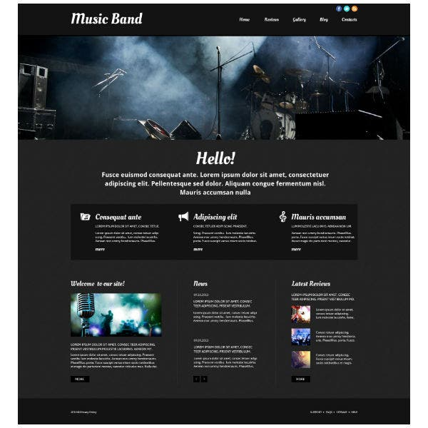 Rock Music Band Responsive Website Template