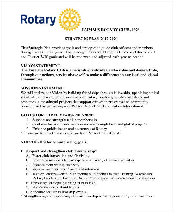Rotary Club Strategic Plan