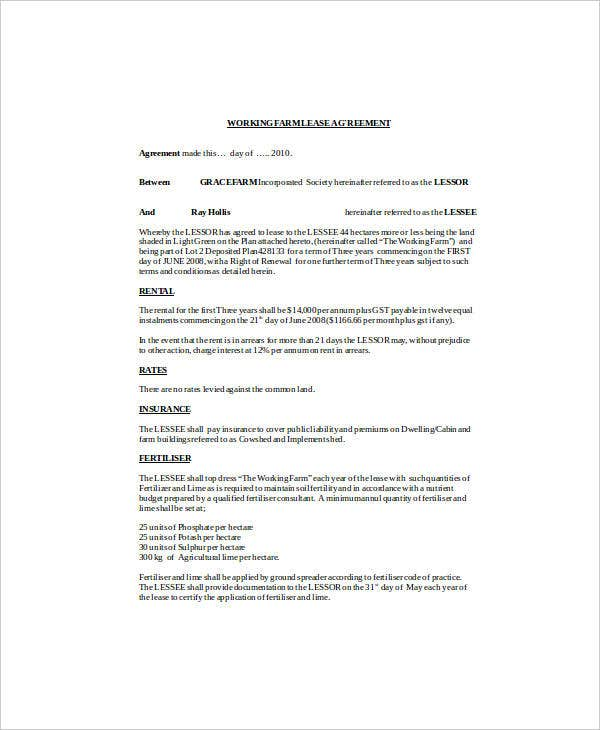 rural land lease agreement